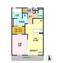 埼玉県熊谷市上之の賃貸アパートの間取り