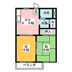 サンシャイン石田B棟[2階]の間取り