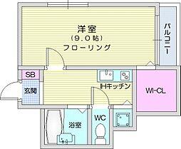 仙台市営南北線 愛宕橋駅 徒歩31分の賃貸アパート 1階1Kの間取り