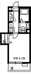 JR山手線 目黒駅 徒歩5分の賃貸マンション 2階1Kの間取り