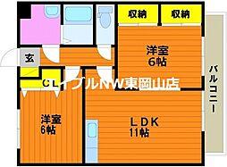 明日香マンション 2階2LDKの間取り