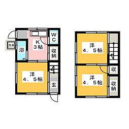 [一戸建] 愛知県春日井市味美町1丁目 の賃貸【/】の間取り