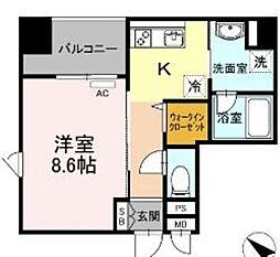 西鉄天神大牟田線 薬院駅 徒歩6分の賃貸マンション 3階1Kの間取り