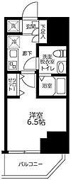 ルフレプレミアム川崎 2階1Kの間取り