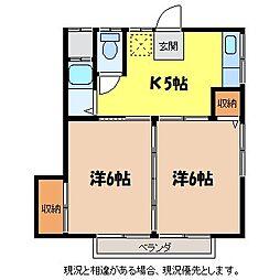 楓青山ハイツB[1階]の間取り