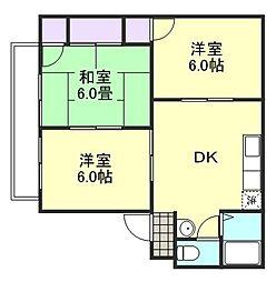 ガーデンビュー西中[1階]の間取り