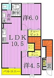 ペルル・ジェモー壱号館弐号館[2-201号室]の間取り