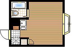 JR中央線 東小金井駅 徒歩13分の賃貸マンション 1階ワンルームの間取り
