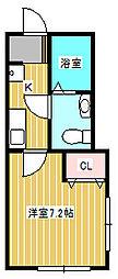 ル・クレール新松戸 1階1Kの間取り