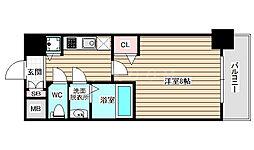 ディクス福島レジデンス 3階1Kの間取り