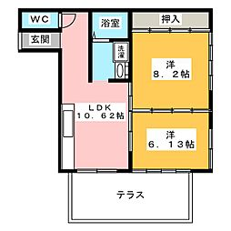 コーポ・ユーカリ[1階]の間取り