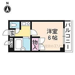 阪急京都本線 桂駅 徒歩6分の賃貸マンション 1階1Kの間取り