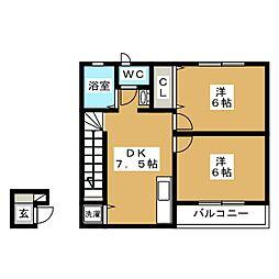 ラッフィナート渡辺II 1階2DKの間取り