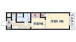 愛知県名古屋市天白区向ヶ丘3丁目の賃貸マンションの間取り