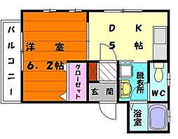 プレスト香住ヶ丘 A[2階]の間取り