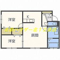 札幌市営東西線 西11丁目駅 徒歩10分の賃貸マンション 1階2LDKの間取り