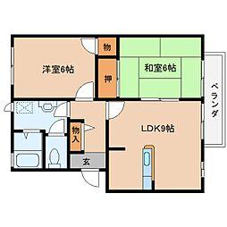 奈良県桜井市大福の賃貸アパートの間取り