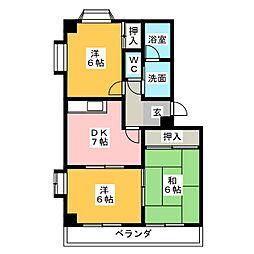 アネックス富洲原[3階]の間取り