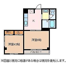 長野県松本市庄内2丁目の賃貸アパートの間取り