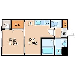 JR仙山線 東北福祉大前駅 徒歩17分の賃貸マンション 3階1DKの間取り