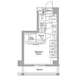 ザ・パークハビオ神泉 5階ワンルームの間取り