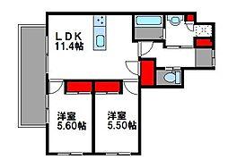 西鉄貝塚線 西鉄香椎駅 徒歩5分の賃貸マンション 1階2LDKの間取り