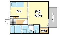 兵庫県姫路市飾磨区若宮町の賃貸アパートの間取り
