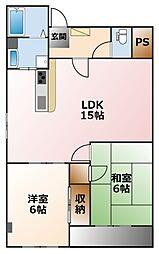 甲子園第二松並ハイツ[3階]の間取り