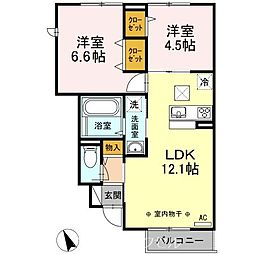 JR中央本線 日野駅 バス13分 石川町東下車 徒歩3分の賃貸アパート 1階2LDKの間取り
