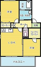 ハーモニーガーデン葛原A棟[2階]の間取り