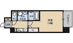 JR東西線 大阪城北詰駅 徒歩9分の賃貸マンション 8階1Kの間取り