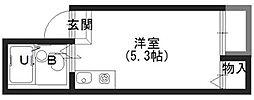 Osaka Metro長堀鶴見緑地線 松屋町駅 徒歩4分の賃貸アパート 1階ワンルームの間取り