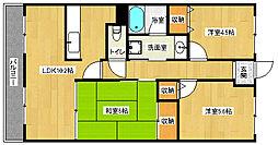 京都府城陽市富野の賃貸マンションの間取り