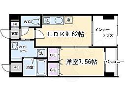 DAIWA RESIDENCE KYOTO (ダイワレジデンスキョウト) 2階1LDKの間取り