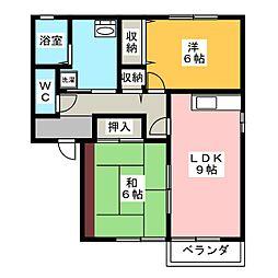 リバーパーク A棟[1階]の間取り