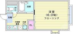 仙台市地下鉄東西線 川内駅 徒歩8分の賃貸アパート 2階1Kの間取り