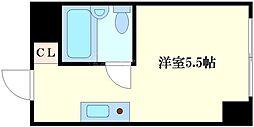 エクラ関目ウエスト 4階ワンルームの間取り