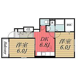 JR成田線 成田駅 バス25分 太産工業前下車 徒歩11分の賃貸アパート 1階2DKの間取り
