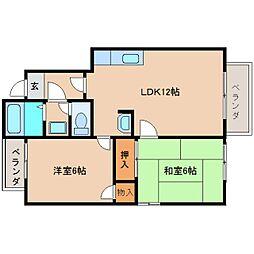 奈良県奈良市南登美ケ丘の賃貸アパートの間取り