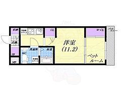 阪神本線 甲子園駅 徒歩7分の賃貸マンション 5階1Kの間取り