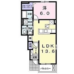 サンリットハウス米広B 1階1LDKの間取り