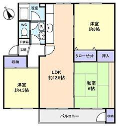 習志野台団地3街区2棟[4階]の間取り