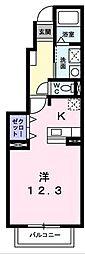 神奈川県秦野市北矢名の賃貸アパートの間取り