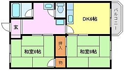 大阪府堺市堺区旭ヶ丘中町1丁の賃貸マンションの間取り