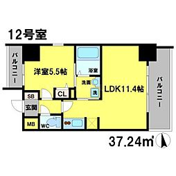 S-RESIDENCE江坂Eminence 13階1LDKの間取り