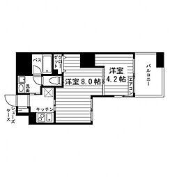 ARTIS仙台木町通 6階2Kの間取り