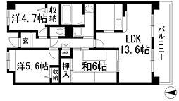 兵庫県宝塚市口谷東3丁目の賃貸マンションの間取り