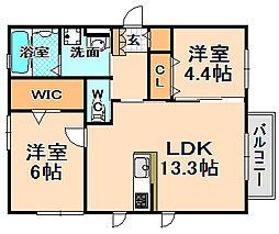 兵庫県伊丹市東有岡5丁目の賃貸アパートの間取り
