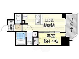 Osaka Metro堺筋線 北浜駅 徒歩5分の賃貸マンション 4階1LDKの間取り