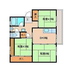 奈良県奈良市中登美ケ丘1丁目の賃貸マンションの間取り